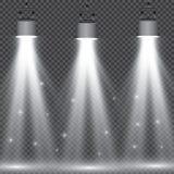 Collection d'illumination de scène, effets transparents Éclairage lumineux avec des projecteurs illustration de vecteur