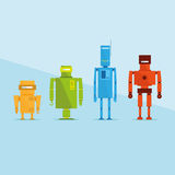 Collection d'illustration colorée de caractères de robot illustration stock