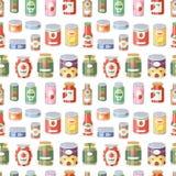 Collection d'illustration sans couture de vecteur de modèle de divers de bidons de conserves de nourriture en métal produit de ré illustration stock