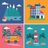 Collection d'images dans le style plat Quatre images du repos de catégorie illustration libre de droits