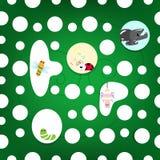 Collection d'insecte dans la maison de feuille, carto animal de créativité de faune illustration stock