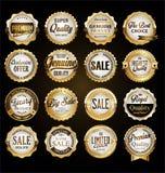 Collection d'insignes d'or et de labels de rétro qualité de la meilleure qualité de cru illustration libre de droits