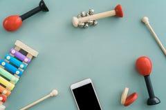 Collection d'instruments de musique Photographie stock