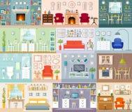 Collection d'intérieurs de vecteur dans un style plat illustration libre de droits