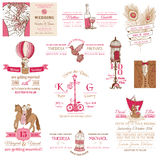Collection d'invitation de vintage de mariage Image libre de droits