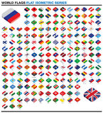 Collection of 3d isometric flat style flags of the world Royalty Free Stock Image