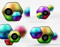 Collection of 3d metal geometric objects, vector techno banners. Digital wallpapers or business technology presentation backgrounds Stock Image