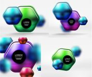 Collection of 3d metal geometric objects, vector techno banners. Digital wallpapers or business technology presentation backgrounds Royalty Free Stock Photos