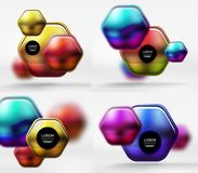 Collection of 3d metal geometric objects, vector techno banners. Digital wallpapers or business technology presentation backgrounds Stock Images