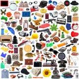 Collection d'objets dans le chaos à l'arrière-plan blanc image libre de droits