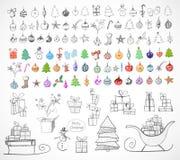 Collection d'objets de Noël et de nouvelle année Images libres de droits