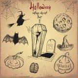 Collection d'objets effrayants pour la conception de Halloween Image libre de droits