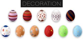 Collection d'oeufs de p?ques color?s r?alistes avec l'ornement Illustration de vecteur illustration stock
