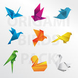 Collection d'oiseaux d'origami Photographie stock