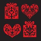 Collection d'ornement de vintage de coeur et de boîte-cadeau. Vecteur Images stock
