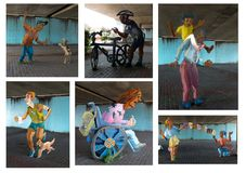 Collection of 2D painted metal statues. In Emeryville California Underpass representing day to day life of the city and its inhabitants Stock Photography