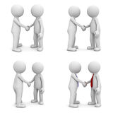 Collection of 3d people handshake isolated on white. Background Stock Photography