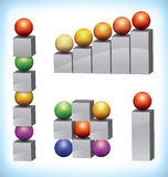 Set of infographic elements. Collection of 3d presentation template elements consists of multicolored spheres and gray squares stock illustration