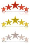 Collection of 3D rendering of five red, gold and white stars Royalty Free Stock Images