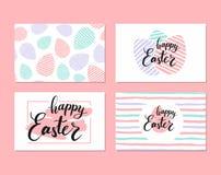 Collection d'étiquette mignonne de cadeau avec marquer avec des lettres Joyeuses Pâques Image libre de droits