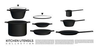 Collection d'ustensile de cuisine de croquis Images libres de droits