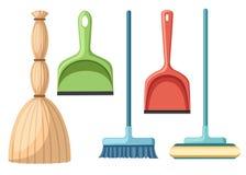 Collection d'ustensile de nettoyage de ménage Balai, balai, scoop Illustration plate de vecteur d'isolement sur le fond blanc photos stock