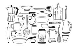 Collection d'ustensiles et d'outils tirés par la main de cuisine pour faire cuire sur le fond blanc Ensemble de monochrome de ban Photos libres de droits