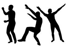 Collection of dancing young men Royalty Free Stock Image