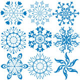 Collection dark blue snowflakes (vector) royalty free illustration