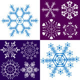 Collection dark blue and white snowflakes (vector) Royalty Free Stock Photo