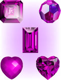 Collection of Dark Pink Crystal Bead vectors. Pink Asscher Crystal, Pink Faceted Bead, Emerald Cut Pink crystal, Pink Heart Crystal and Faceted Heart Crystal stock illustration