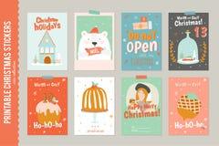 Collection de 8 étiquettes et cartes de cadeau de Noël Image stock