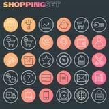 Collection de achat intégrée d'icônes, icônes linéaires à la mode photographie stock libre de droits