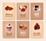 Collection de bannières colorées avec les desserts délicieux ou les plats sucrés savoureux et les boissons - biscuits, sucreries, illustration stock