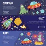 Collection de bannières de bande dessinée de thème de l'espace illustration de vecteur