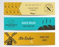 Collection de bannières de boulangerie et de nourriture Fond du drapeau Set Photo libre de droits