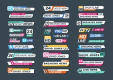 Collection de barres d'actualités de TV pour des actualités, rapports, canaux vivants, courants Paquet d'insignes de télévision d illustration stock