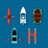 Collection de bateaux Vue supérieure des bateaux de vecteur Photo stock