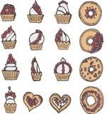 Collection de belle icône de griffonnage de nourriture de boulangerie de bébé Photographie stock