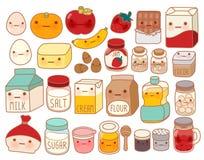 Collection de belle icône d'ingrédient de gâteau, oeuf mignon, adorable Image libre de droits