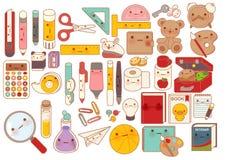 Collection de belle icône de griffonnage de caractère de papeterie de bébé, crayon mignon, poupée adorable d'ours de nounours, pa Photographie stock libre de droits