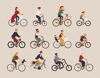 Collection de bicyclettes de monte de personnes de divers types - ville, bmx, hybride, couperet, croiseur, vitesse simple, vitess illustration libre de droits