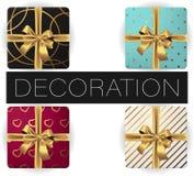 Collection de boîte-cadeau carré réaliste de vecteur avec l'arc et le ruban, modèles, vue supérieure étendue par appartement illustration stock