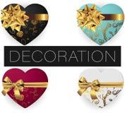 Collection de boîte-cadeau en forme de coeur réaliste de vecteur avec l'arc et le ruban, modèles, vue supérieure étendue par appa illustration stock