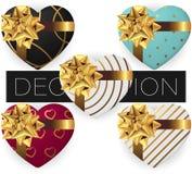Collection de boîte-cadeau en forme de coeur réaliste de vecteur avec l'arc et le ruban, modèles, vue supérieure étendue par appa illustration libre de droits
