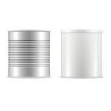 Collection de boîte en fer blanc Boîtes en fer blanc blanches et métalliques avec le chapeau Images libres de droits