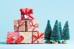 Collection de boîtes de cadeau de Noël Images libres de droits