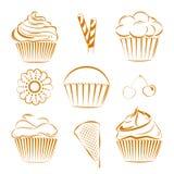 Collection de bonbons à vecteur, petits gâteaux contour Photo libre de droits