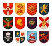 Collection de boucliers et de bras médiévaux de manteau Royaume, empire, symboles de vecteur de château illustration libre de droits