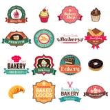 Collection de boulangerie de vintage d'icônes et d'étiquettes Photo libre de droits